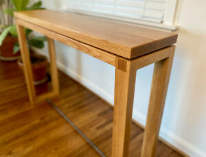 """White Oak """"Floating"""" Console Table with Steel Accents"""
