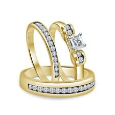 Diamond Wedding Yellow Gold Over Trio His Her Bridal Band Engagement Ring Set