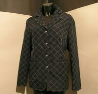 "FAUSTA CINQUINI woman jacket quilted checkered blue ""SPORT"" neck rever size eu M"