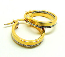 9CT HALLMARKED YELLOW GOLD POLISHED MOONDUST BAND INSIDE OUT ROUND HOOP EARRINGS