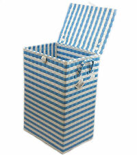 Laundry Basket Polypropylene With Chrome Wire Frame White&Blue By Arpan