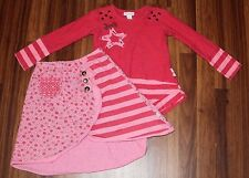 Girls - NAARTJIE - PINK Polka Dot Striped Star Shirt & Pocket Skirt Set S M 4 5