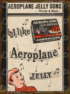 30x40cm Aeroplane Jelly Vintage Rustic Tin Sign or Decal, Cave, Bar, Garage