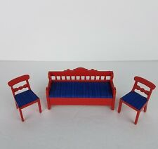 VTG Lundby Wooden Doll House Red Blue Bench Seat & Chairs Living Room Miniature