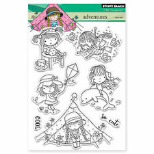 New Penny Black ADVENTURES Clear Stamp Summer Camping Kite Dolphin Swim Snorkel