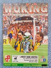 1996 - WOKING v WEST HAM UTD PROGRAMME - FA YOUTH CUP 3RD ROUND - 95/96