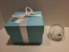 Tiffany & Co Baseball Crystal Paperweight Original Box signed
