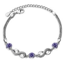 Women's Hot Elegant 925 Sterling Silver Purple Zircon Infinity Chain Bracelet