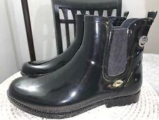Michael Kors Charm Black Rubber Rain Bootie - Ankle Boots Size 10