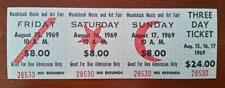 WOODSTOCK 1969 FULL TICKET 3 Day MINT+ (one ticket)  100% GUARANTEED ORIGINAL
