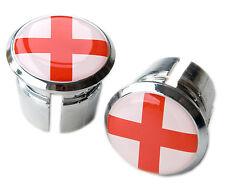 England St George Cross Flag Bicycle Handlebar Chrome Plastic Bar End PlugsCaps