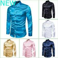 Dress Shirts Luxury Long Sleeve Slim Fit Stylish Blouse Floral Top Casual Mens
