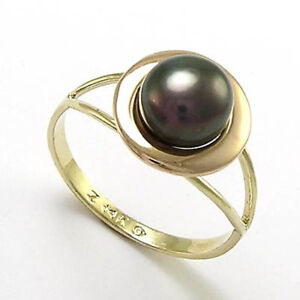 14K YELLOW AND PINK ROSE GOLD BLACK PEARL RING #R719 NEW