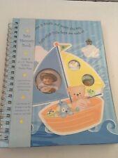 New Baby Boy blue Memory Record Book Sail Boat