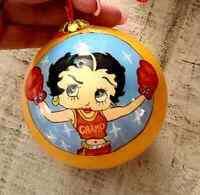 BETTY BOOP REVERSE PAINTED GLASS  CHRISTMAS ORNAMENTS LOT P