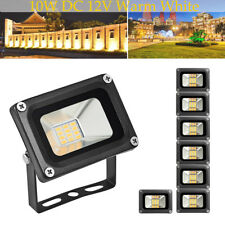 8Pcs 10W LED Flood Light Warm White Outdoor Path Landscape Lamp Fixtures DC 12V