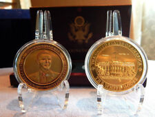 PRESIDENT OBAMA IN BRONZE & THE WHITE HOUSE IN GOLD-2 Coin's in Solid Wood Box