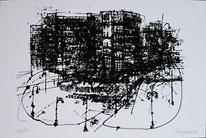 RENZO VESPIGNANI serigrafia Periferia 1980  21x14 firmata numerata 146/150