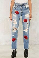 Nasty Gal After Party By Rose Above It Jeans Size 30 Light Blue NG88