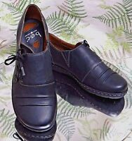 BORN BLACK LEATHER MOCCASINS LACED WORK COMFORT DRESS SHOES US WOMENS SZ 6 M