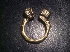 memento mori bronze color dual double skull ring