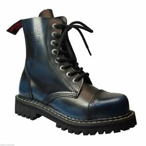 Angry Itch 8 Hole Punk Black Blue Leather Combat Boots Ranger Steel Toe Side