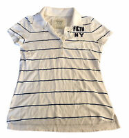 Abercrombie & Fitch Women's Polo T Shirt Large White Striped S/S Cotton Blend