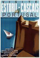 "Vintage Illustrated Travel Poster CANVAS PRINT Visit Portugal 24""X18"""