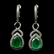 NATURAL 7 X 9 mm. GREEN EMERALD & WHITE CZ 925 STERLING SILVER EARRINGS