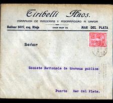 """MAR DEL PLATA (ARGENTINE) Enveloppe d'Entreprise SCIERIE """"TIRIBELLI"""" en 1931"""