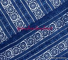 20 Yard Indian Hand Block Print 100% Cotton Natural Indigo Running Bagru Fabric