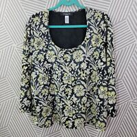Jones NY Plus Size 2X 18/20 Semi-Sheer Blouse peasant top Sequin Boho Floral