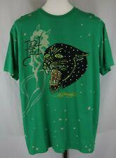 Ed Hardy Christian Audigier Mens Green Short Sleeve Graphic T-Shirt Size Large