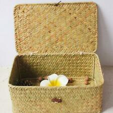 Hand Woven Rattan Home woodluv Seagrass Sundries Storage Basket with Lid Box