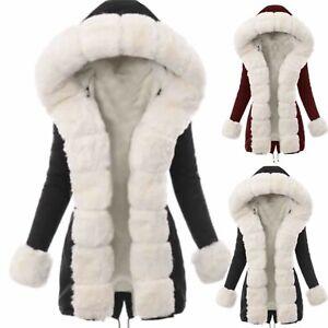 Women Winter Long Sleeve Fur Hooded Cotton Padded Coat Parka Jacket Outwear US