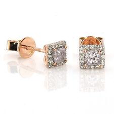 0.49ct Pink Diamonds Earrings 18K All Natural Princess Cut Rose Gold VS2-SI2