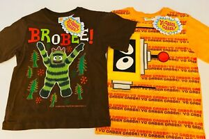 2 NWT BOYS SZ 7 YO GABBA GABBA PLEX & BROBEE SHORT SLEEVED SHIRTS/NEW WITH TAGS