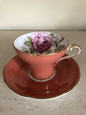 Antique Aynsley England large Pink  Rose Orange Salmon tea cup Teacup Set