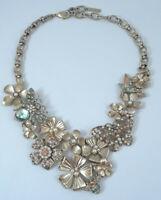 Mythologie Rhinestone Faux Pearl Summer Floral Statement Bib Necklace