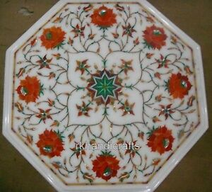14 x 14 Inches Marble Table Top with Floral Design Coffee Table from Cottage Art