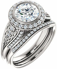 2.14 carat  Round Diamond Halo Engagement Wedding 14k gold Ring F VS1