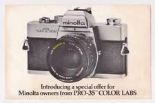 "1977 MINOLTA Pro-35 Color Labs Vtg Ad / Envelope - SRT202 - 8. x 5.5"""