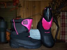 GIRLS WINTER BOOTS SIZE 2 BLACK PINK TEMP RATING -5 KIDS WINTER SHOES ADJUSTABLE