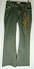 Gasoline Embroidered Women's Beaded Jeans Zipper Closure Size 9 - NWT