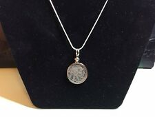 "INDIAN HEAD BUFFALO NICKEL PENDANT NECKLACE 24 "" silver rope chain"
