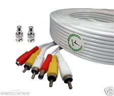 120ft White Audio Video & Power RCA Cable for Night Owl Security CCTV Camera