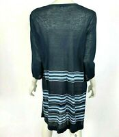 J Jill Tie Front Cardigan Linen Blend Duster Navy Blue Stripe 3/4 Sleeve Women M