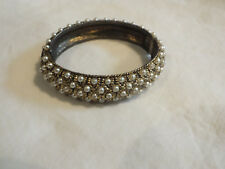 "Collectible Clamp Bracelet Brass Tone Lots Faux Pearls 5/8""W x 2 1/4""A Vintage"