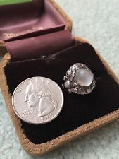Antique Georg Jensen 830 Sterling Silver Moonstone Ring - Made In Denmark