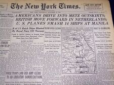 1944 NOV 15 NEW YORK TIMES - AMERICANS DRIVE INTO METZ OUTSKIRTS - NT 825